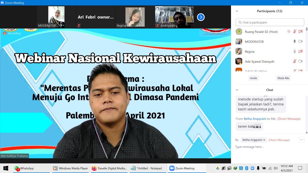 Dosen IIB Darmajaya Pembicara Webinar Kewirausahaan di Universitas PGRI Palembang